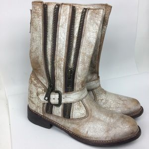 BED STU Sz 8 Distressed Leather Moto Boots